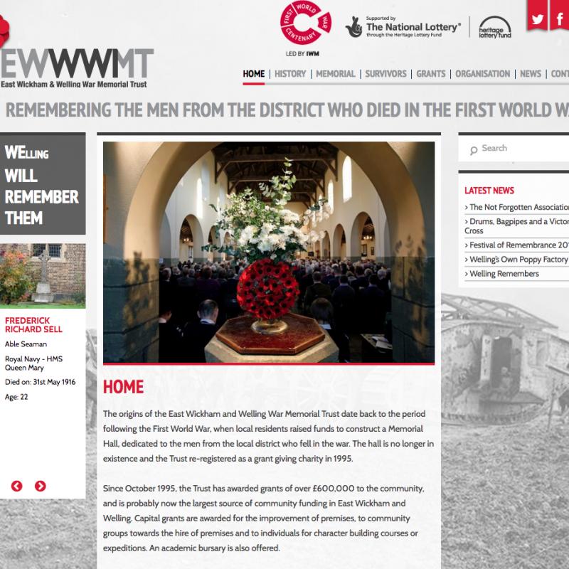 East Wick & Welling War Memorial Trust Website Design